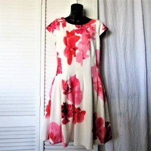 Calvin Klein cream red floral  scuba dress 10